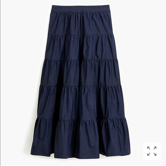 83869597c J. Crew Skirts | J Crew Tiered Midi Skirt In Cotton Poplin New ...